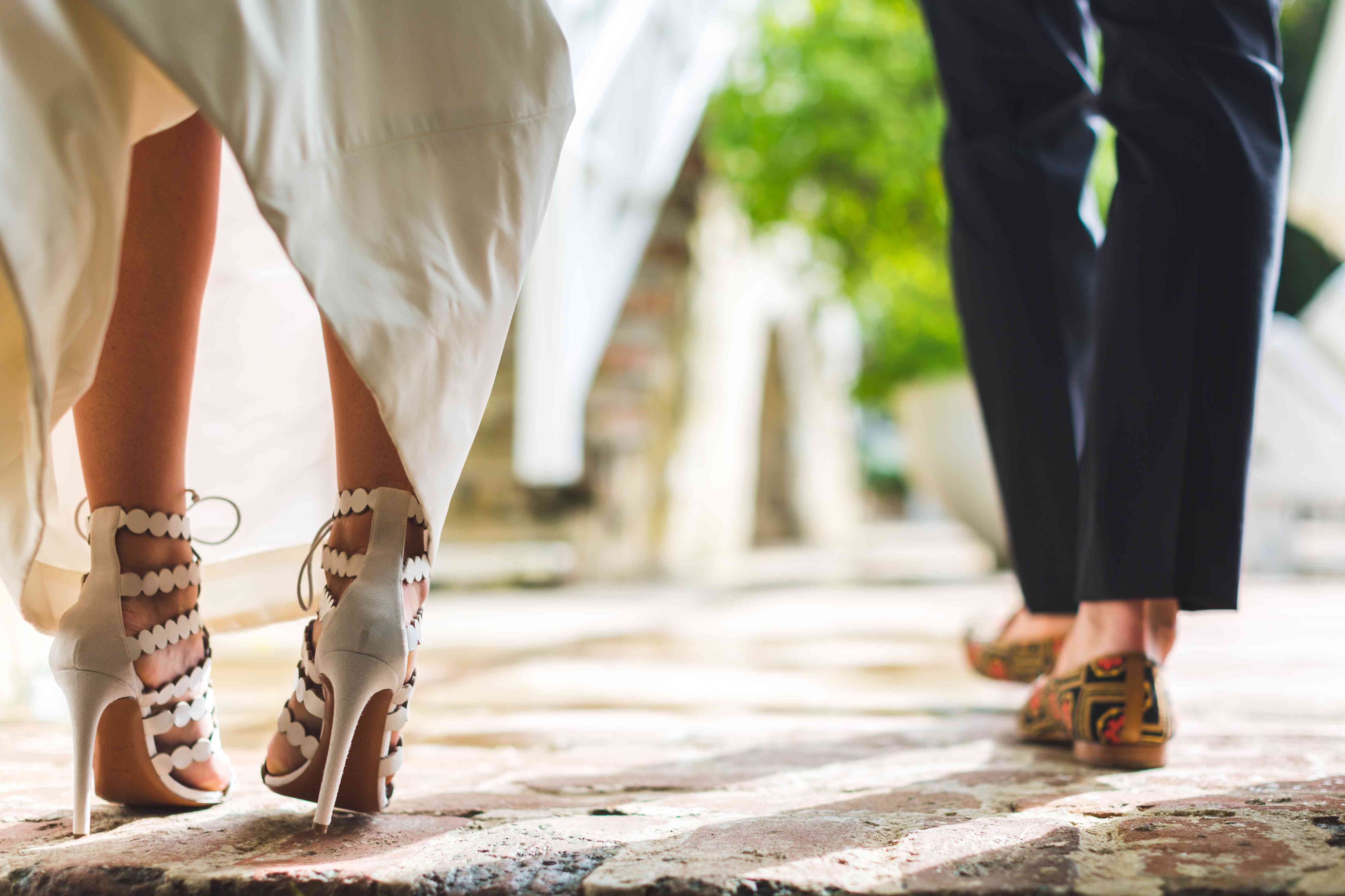 bride and groom wedding shoes