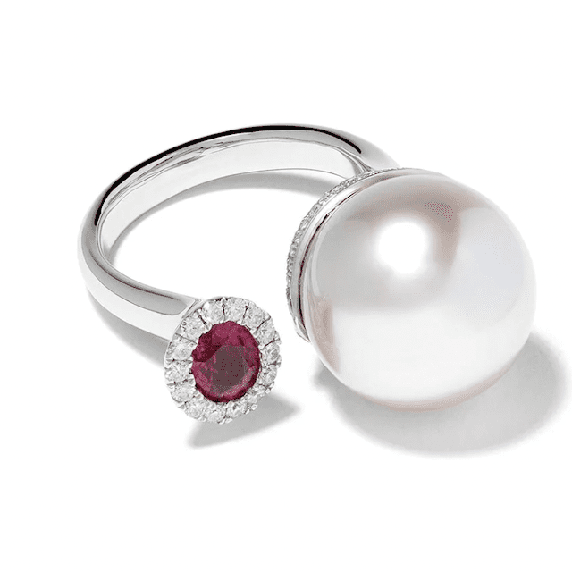 Pearl and ruby ring with silver band