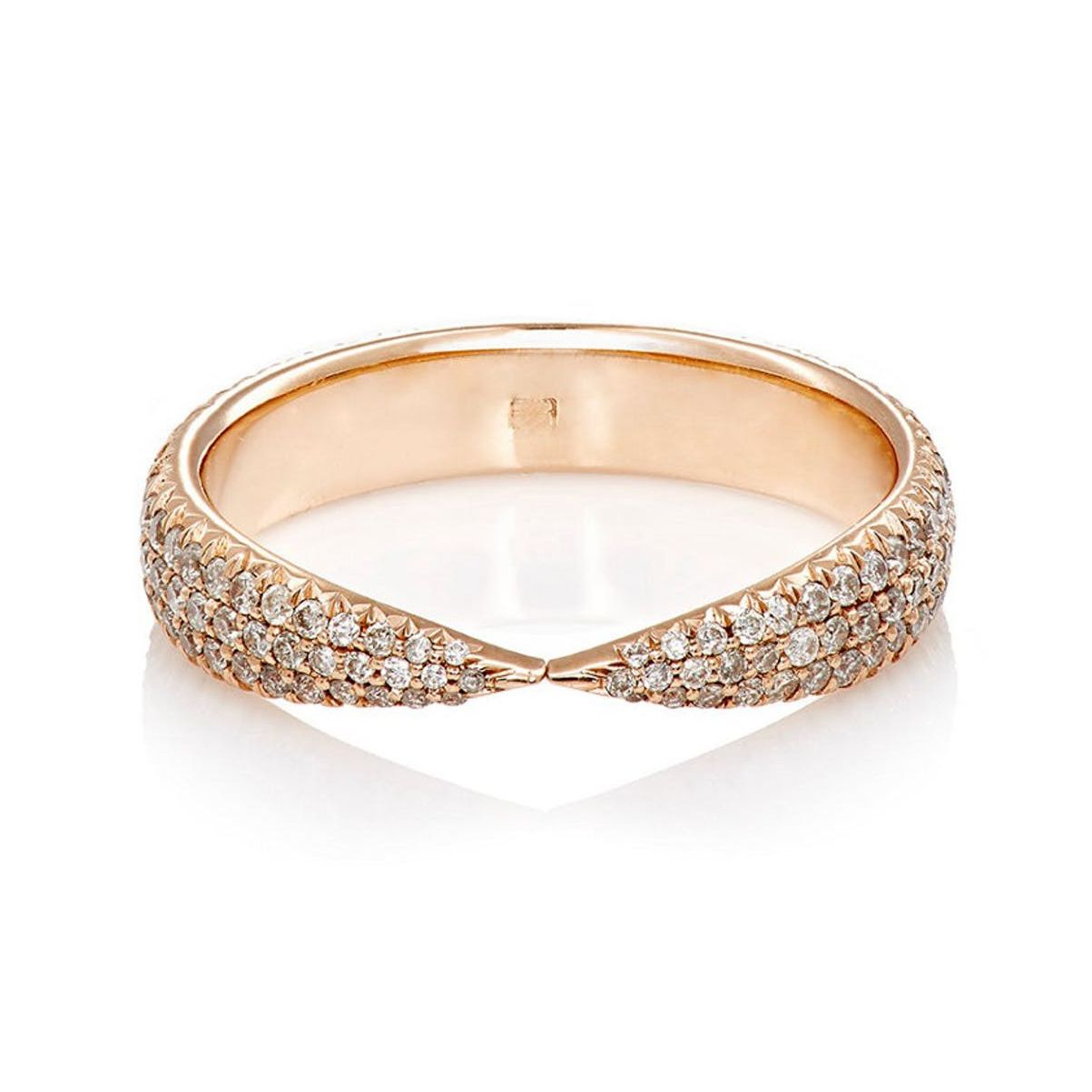 Eva Fehren Kissing Claws Rose Gold Ring With Pavé Pale Champagne Diamonds