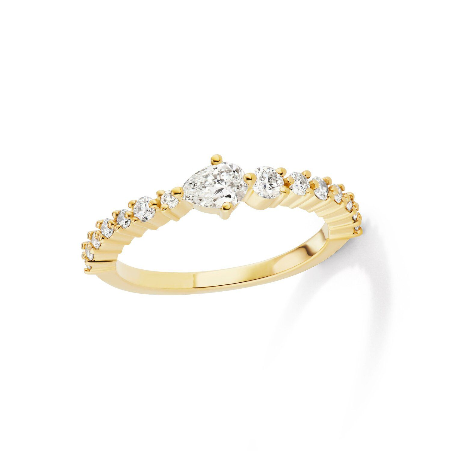 Michelle Fantaci Gold Amaranthus Ring With Pear Shaped Diamond Center