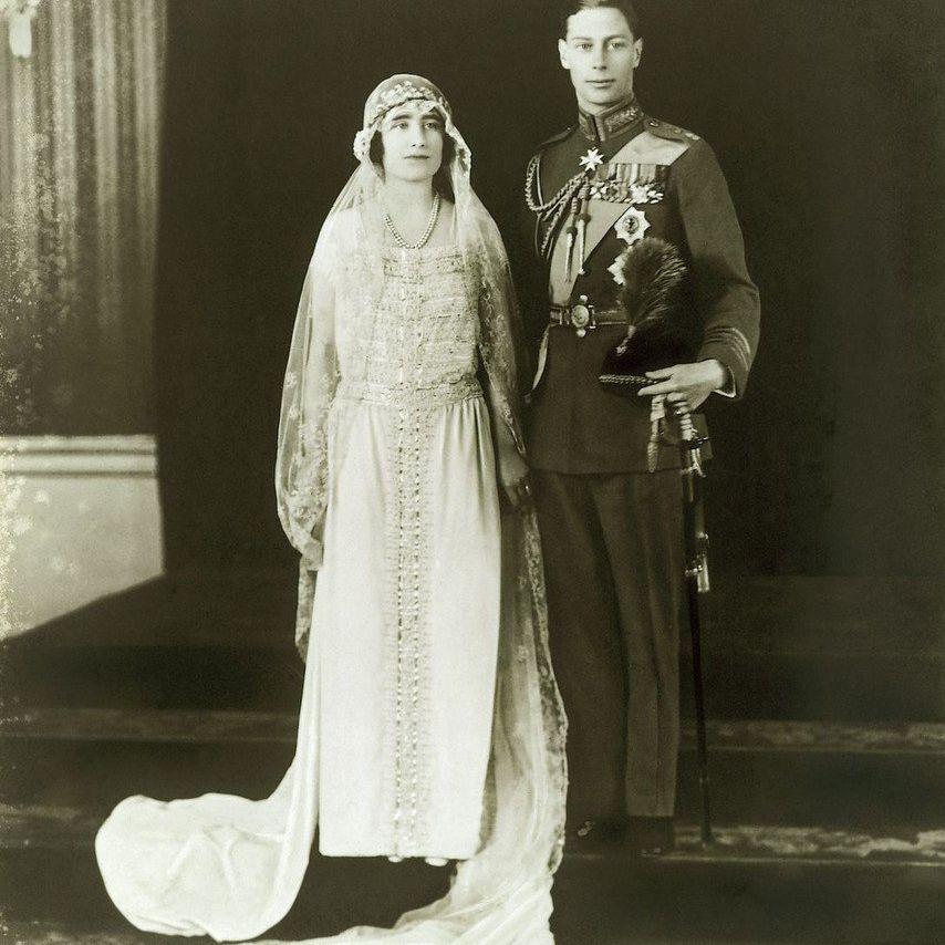 Lady Elizabeth Bowes-Lyon and the Duke of York wedding photo