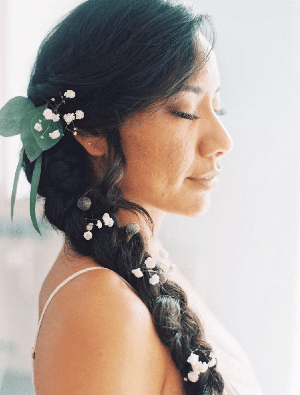 Braid with baby's breath