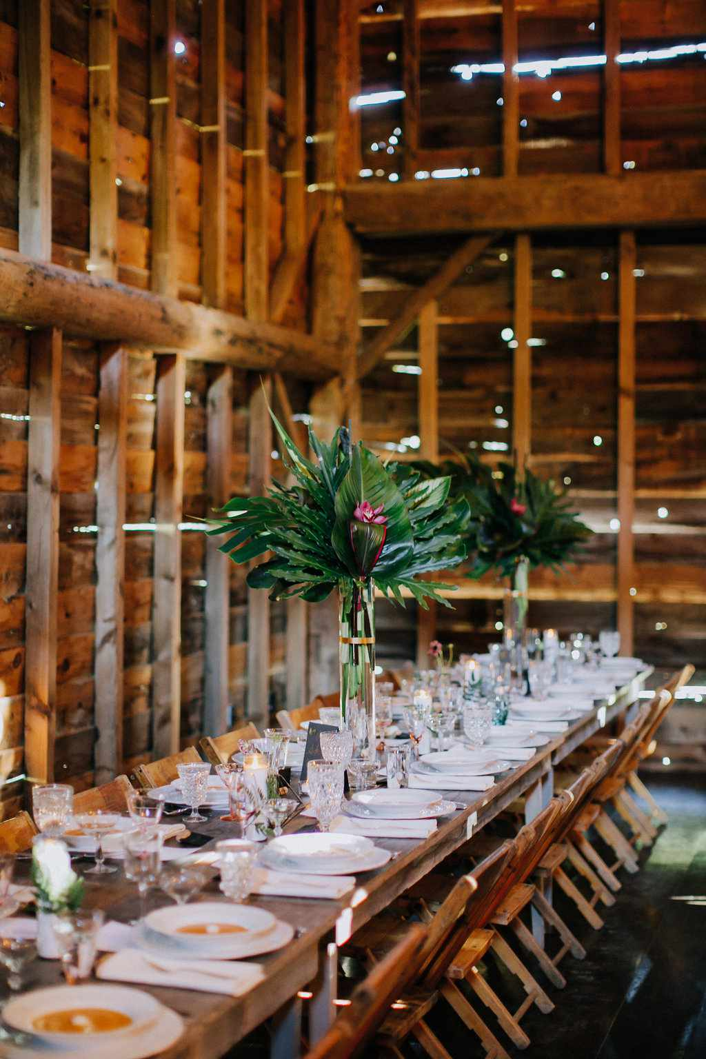 <p>barn long wooden tables</p>