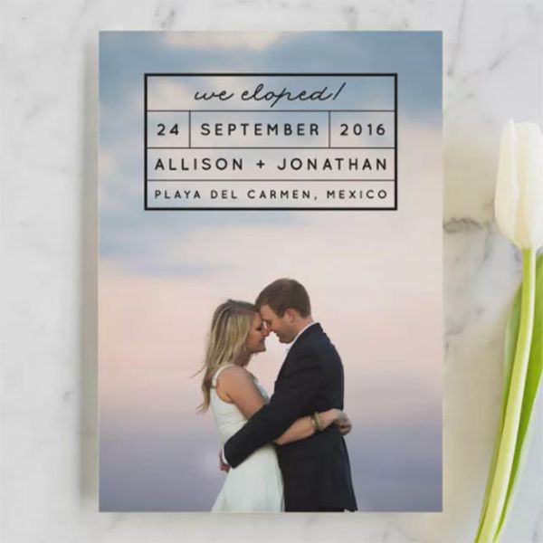 minted elopement card