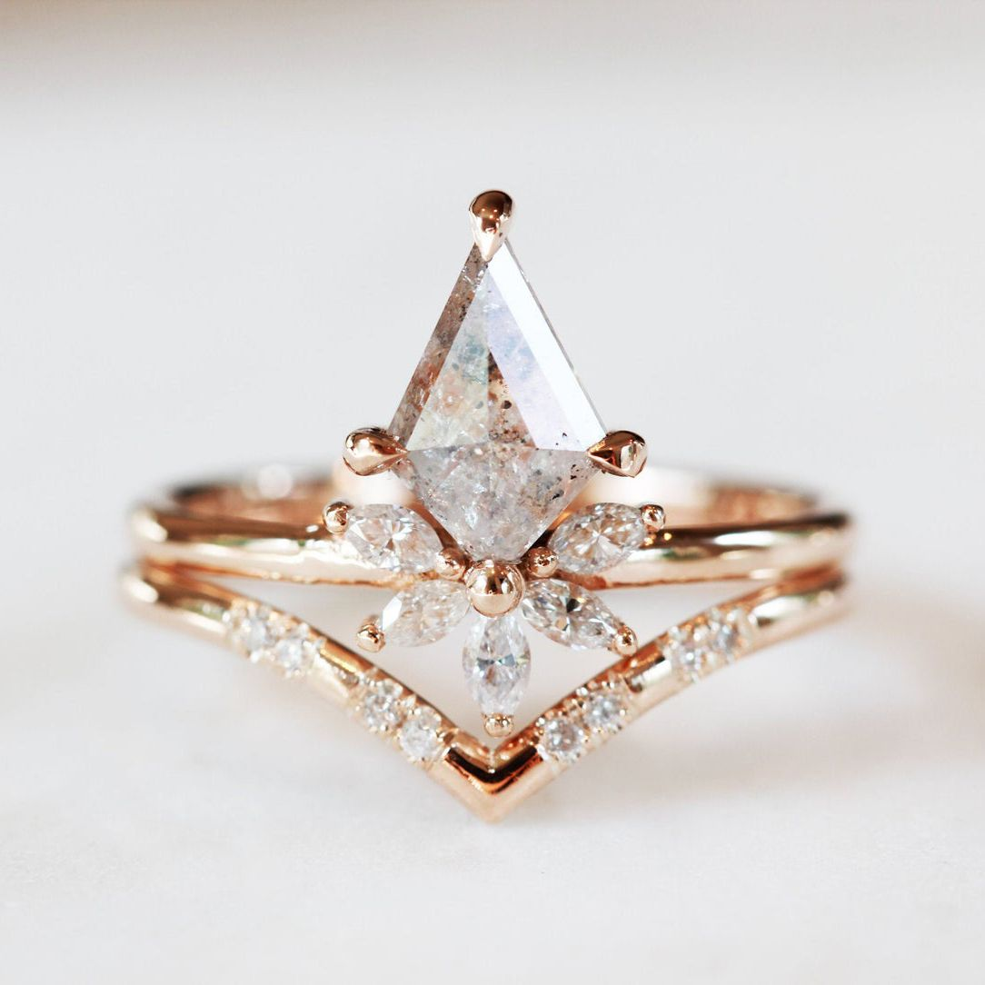 Hidden Space Jewelry Salt and Pepper Diamond Engagement Ring