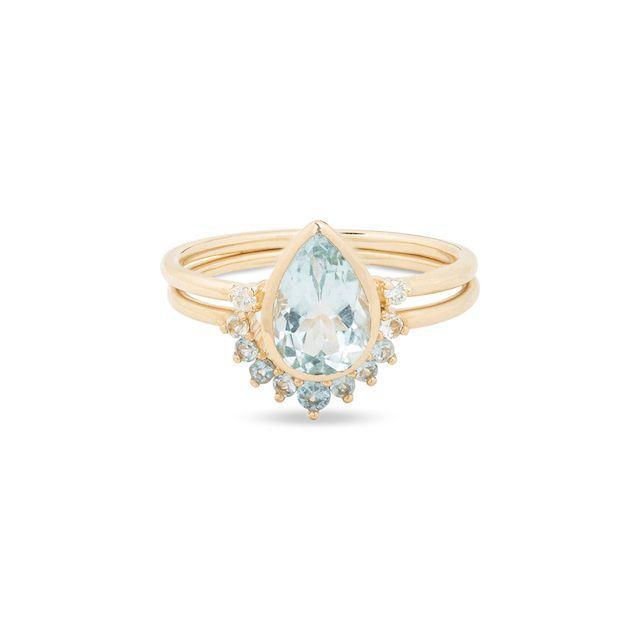Stone and Strand Teardrop Aquamarine Ring Set