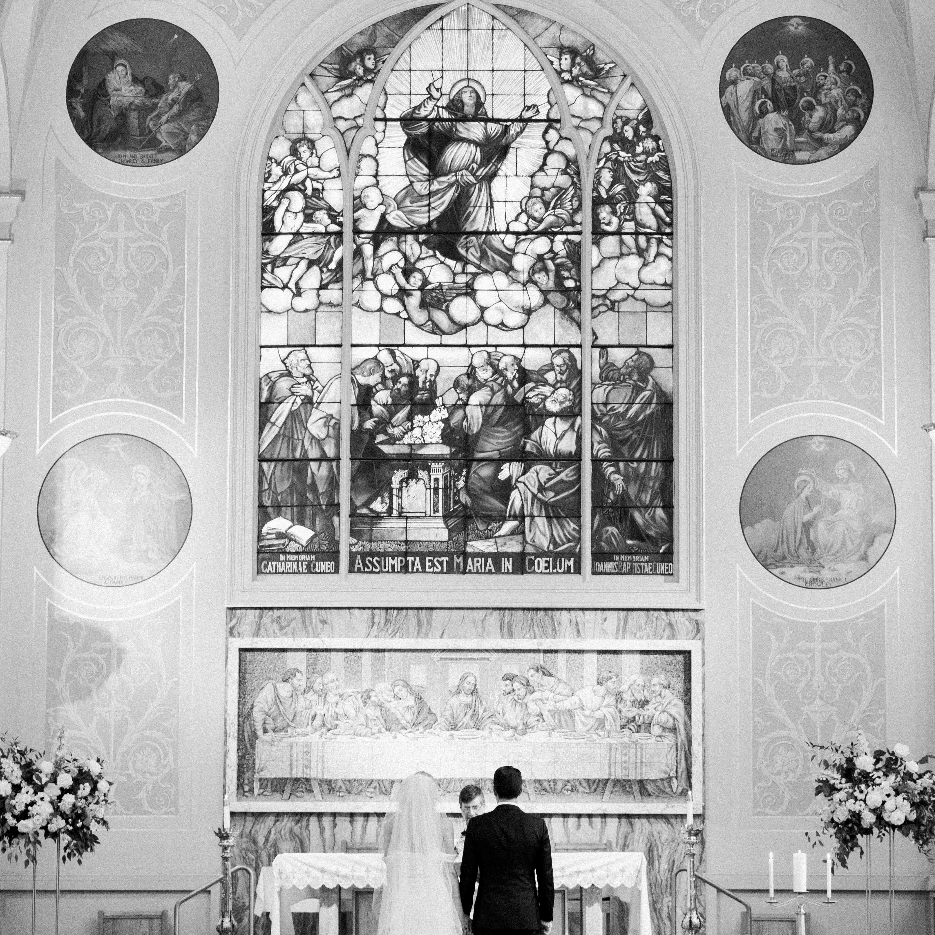 <p>Bride and groom in church</p><br><br>