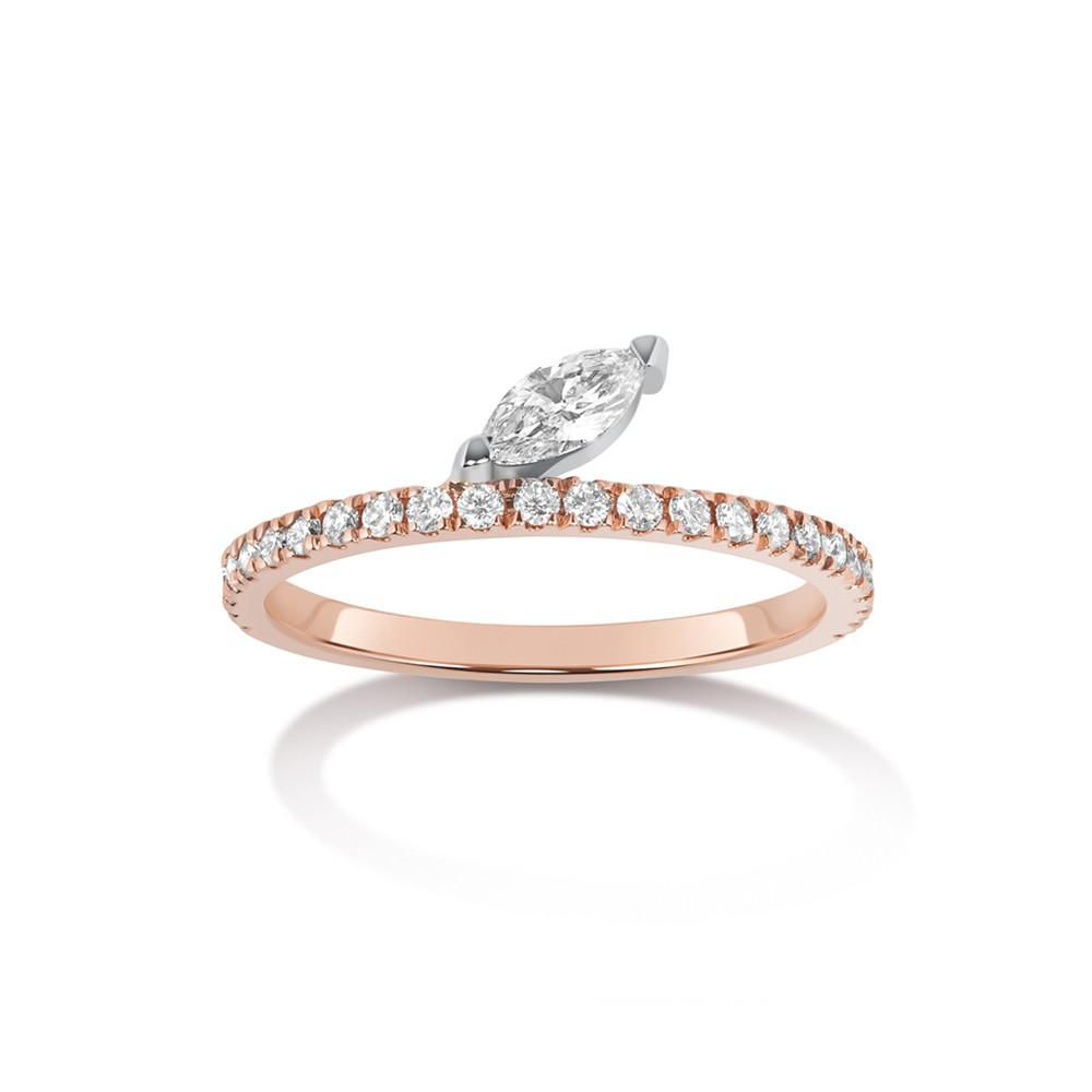 Offset marquise diamond ring
