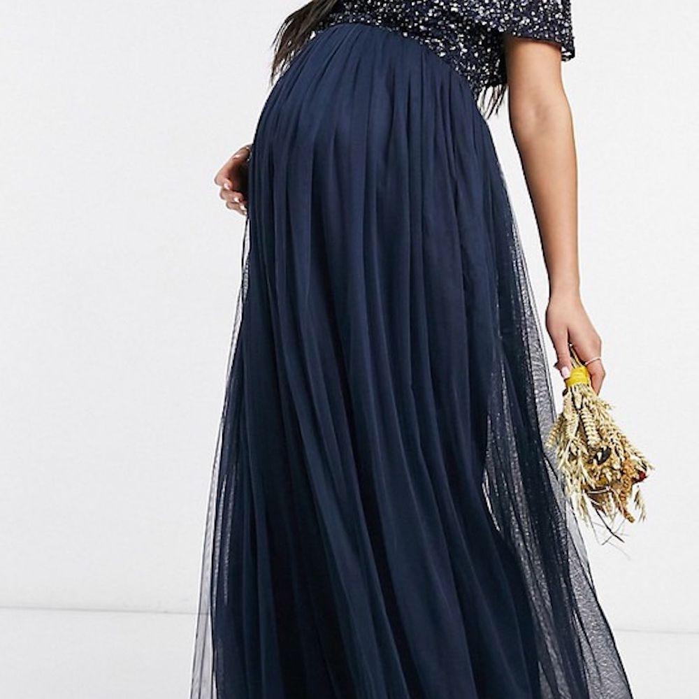 Maya Maternity Bridesmaid Off-Shoulder Maxi Tulle Dress