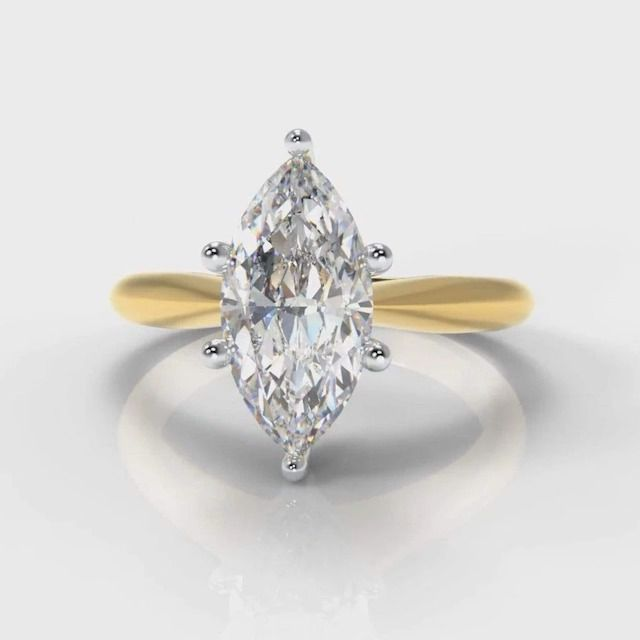 Pure Carats Six Claw Classic Solitaire Marquise Lab Diamond Engagement Ring in Yellow Gold