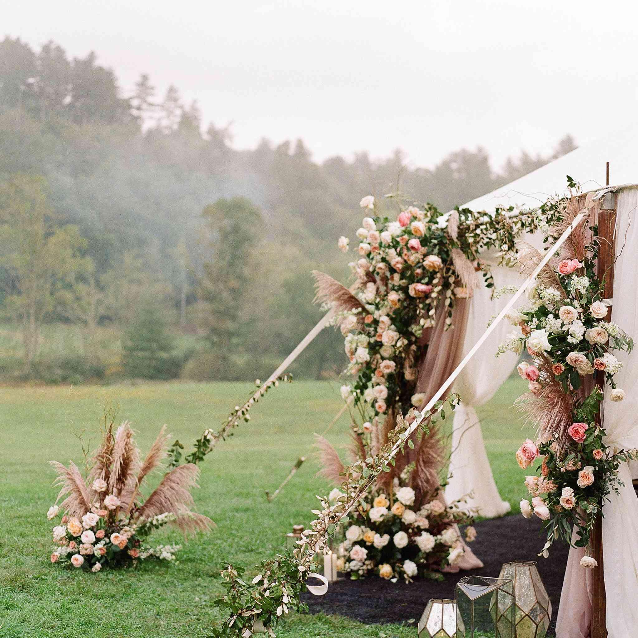 floral tent entrance