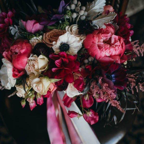 Jewel-toned Peony bouquet