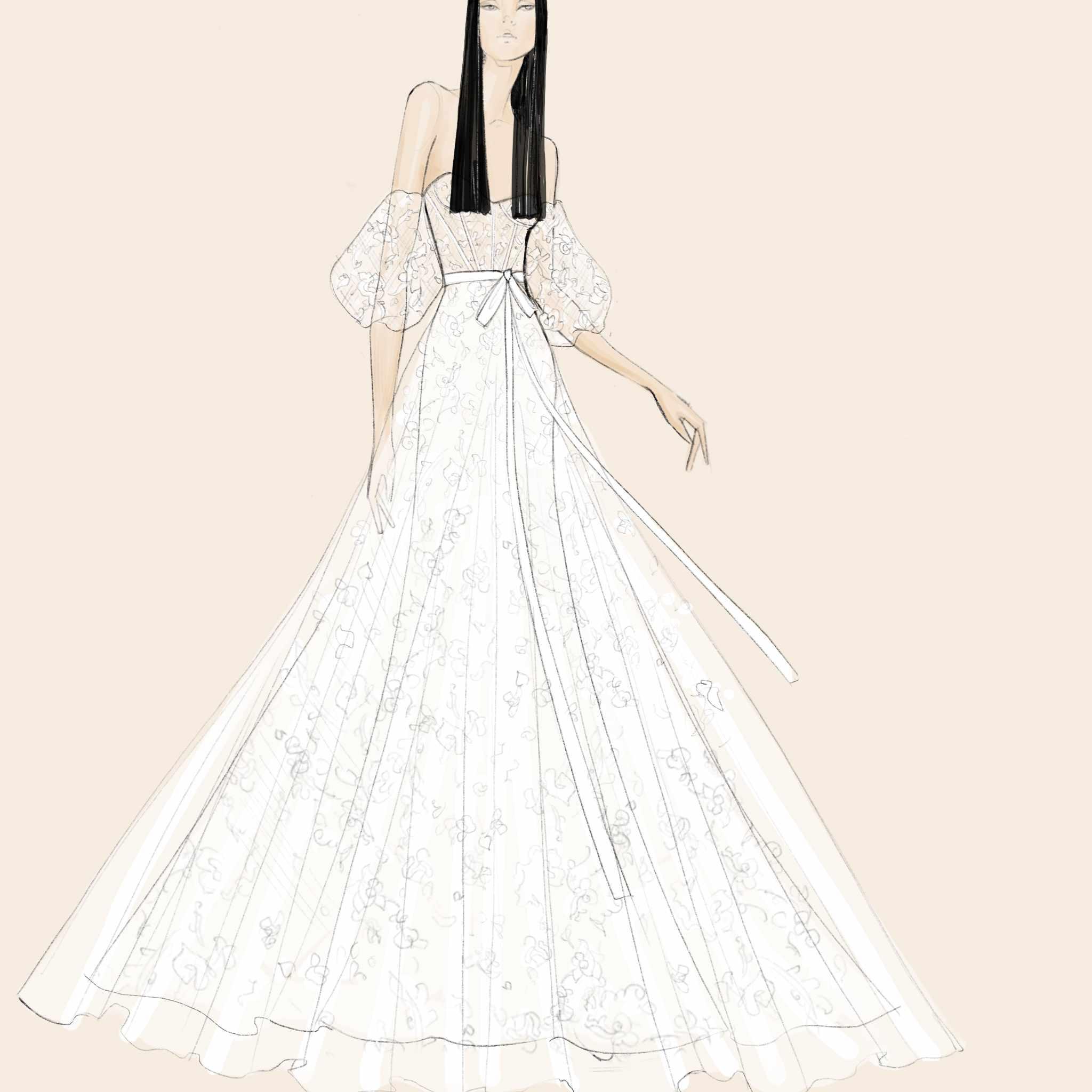 White by Vera Wang Bridal Fashion Week Sketch