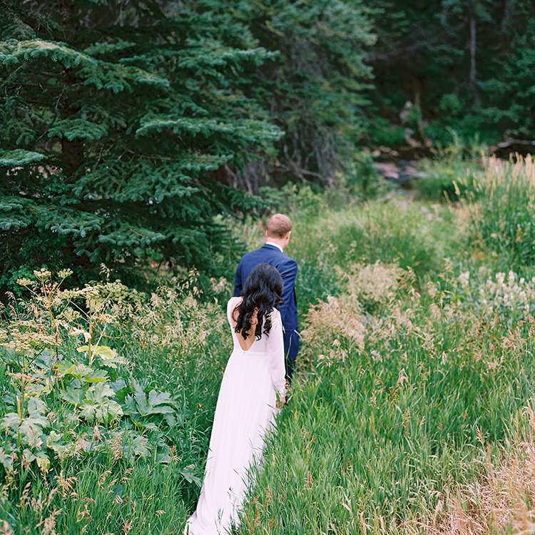 <p>bride and groom in the forest</p><br><br>