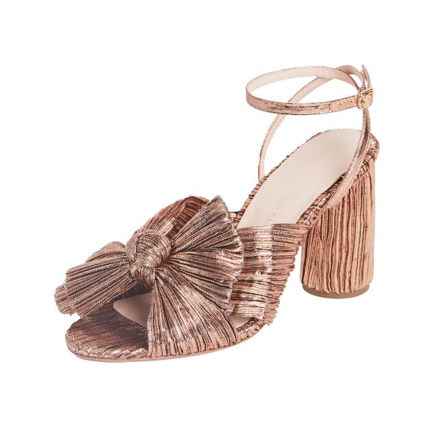 Dark rose gold open-toed mule with a knot bow
