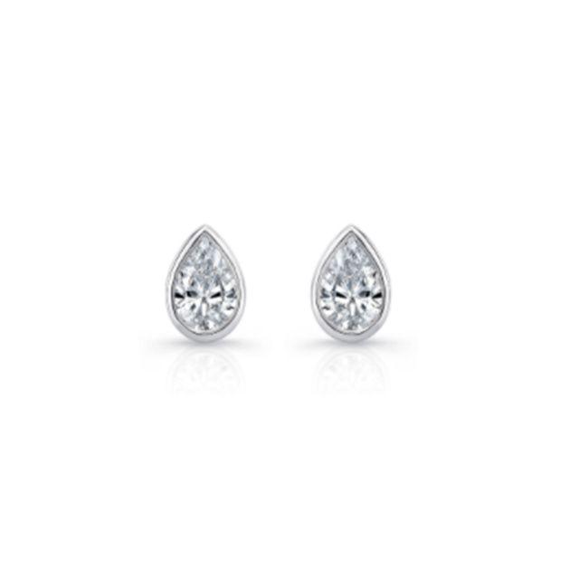 La Petite Pear Bezel Diamond Stud Earrings