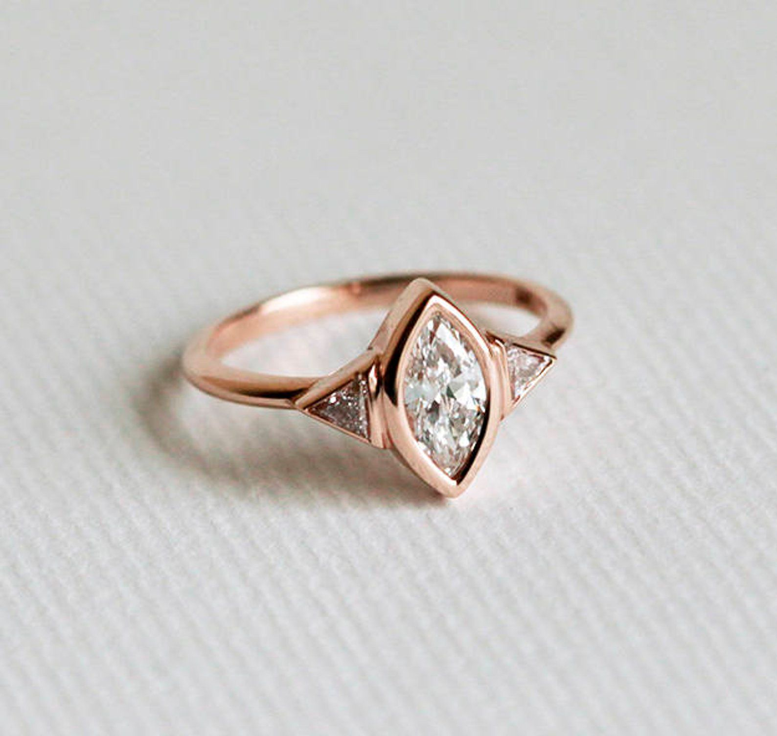 Three Stone Diamond Engagement Ring in Rose Gold From Capucinne