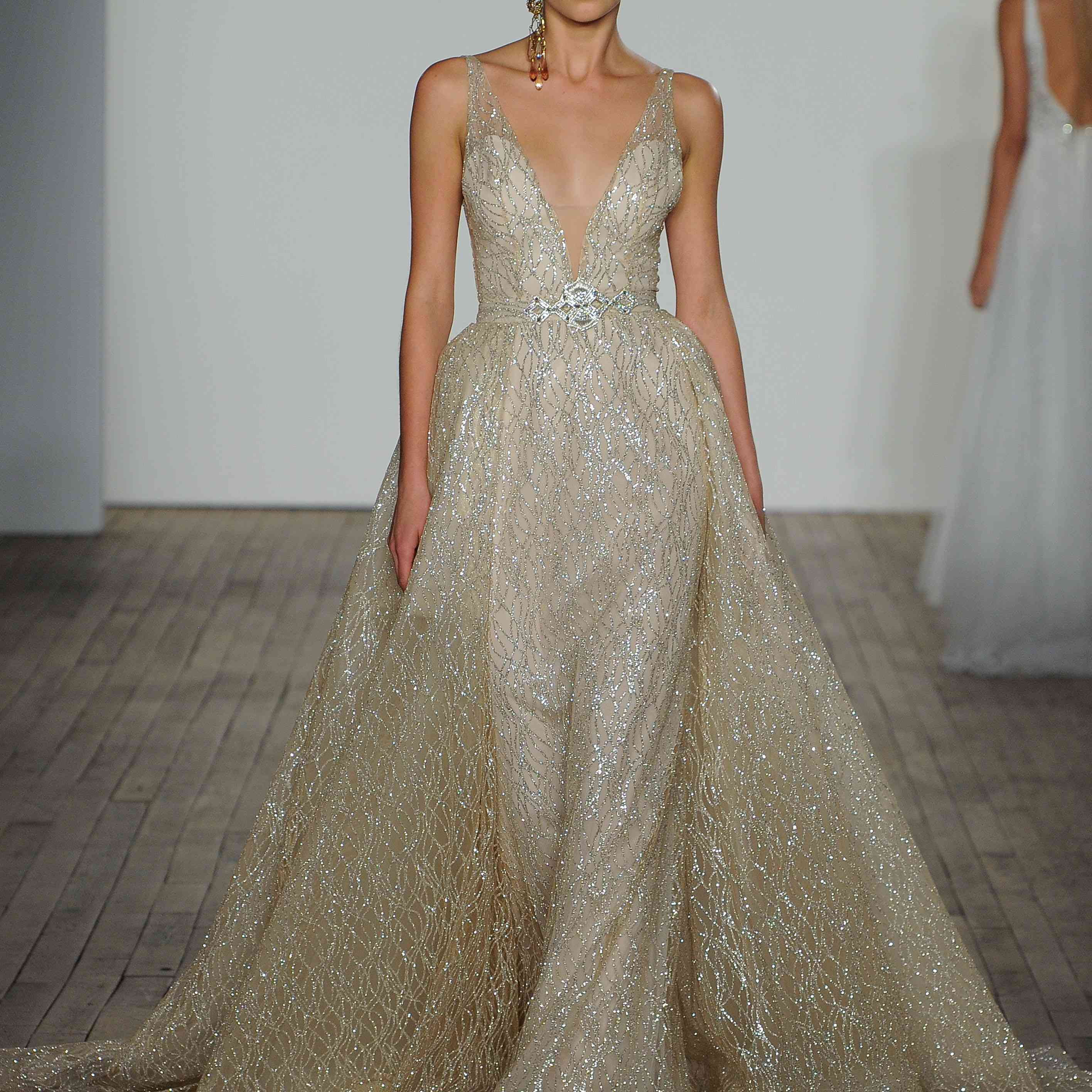 Aretha champagne plunging wedding dress by lazaro