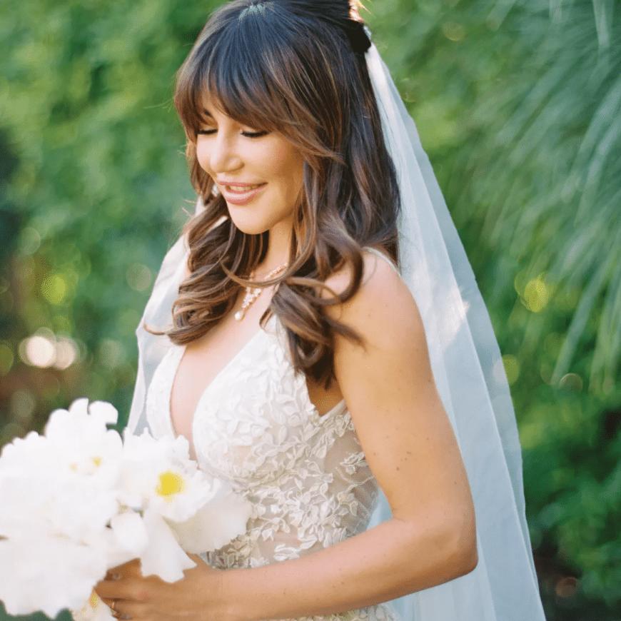 bride wearing hair down on wedding day