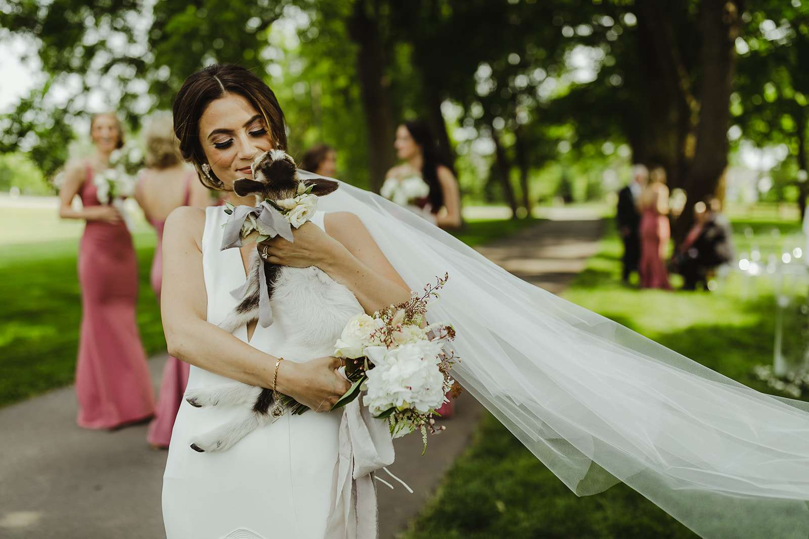 Bride with baby goat