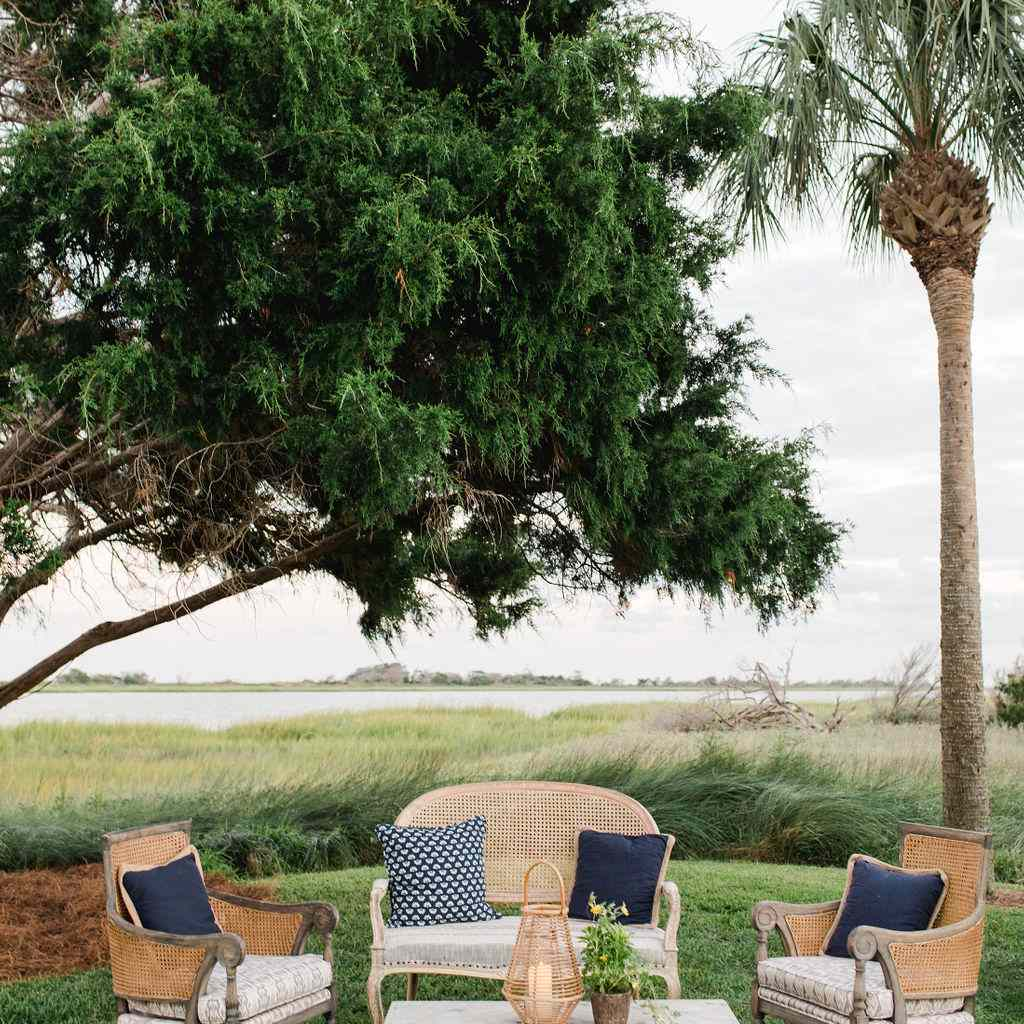 timeless southern wedding, outdoor rehearsal dinner lounge