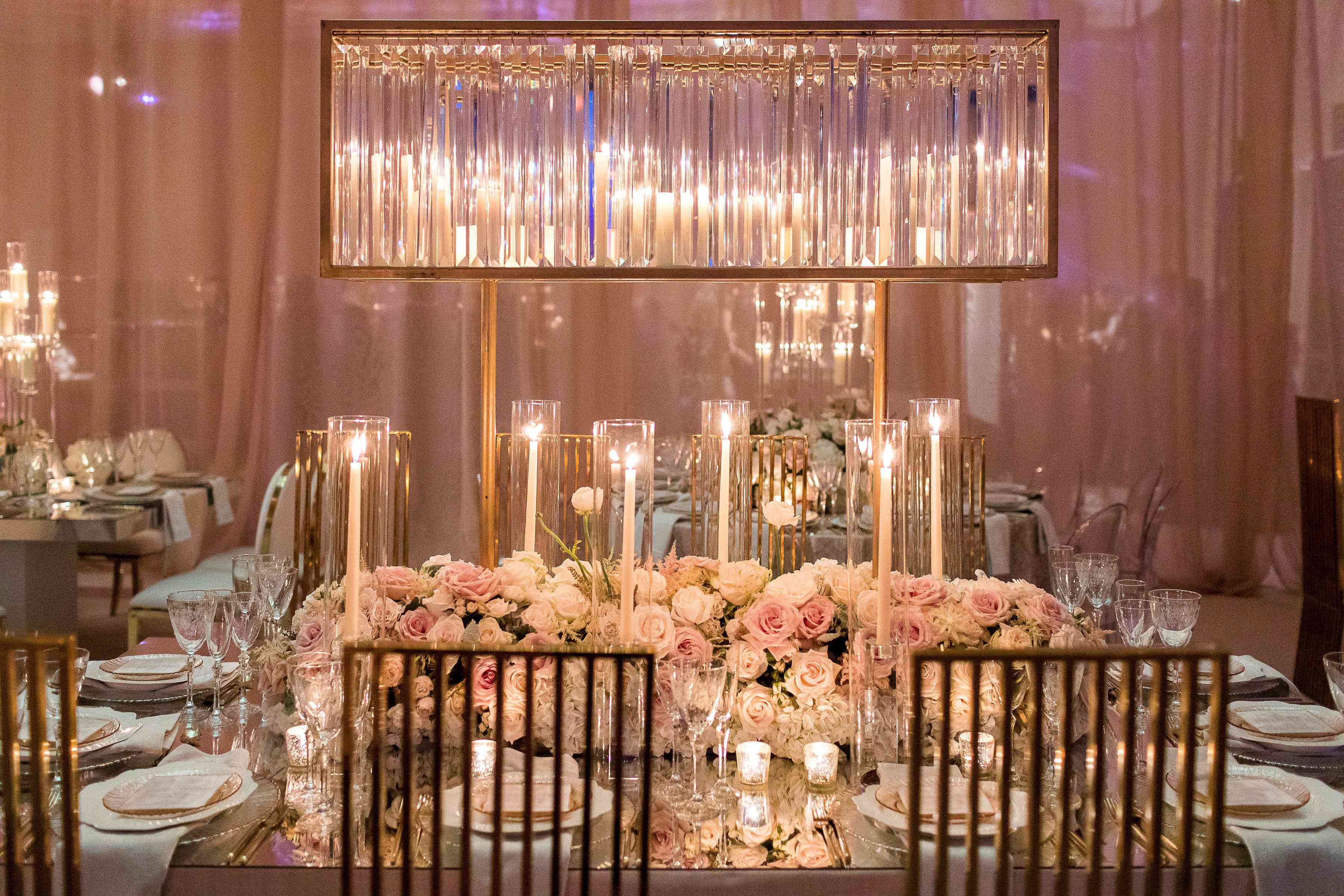 luxe decor candles flowers gold accents