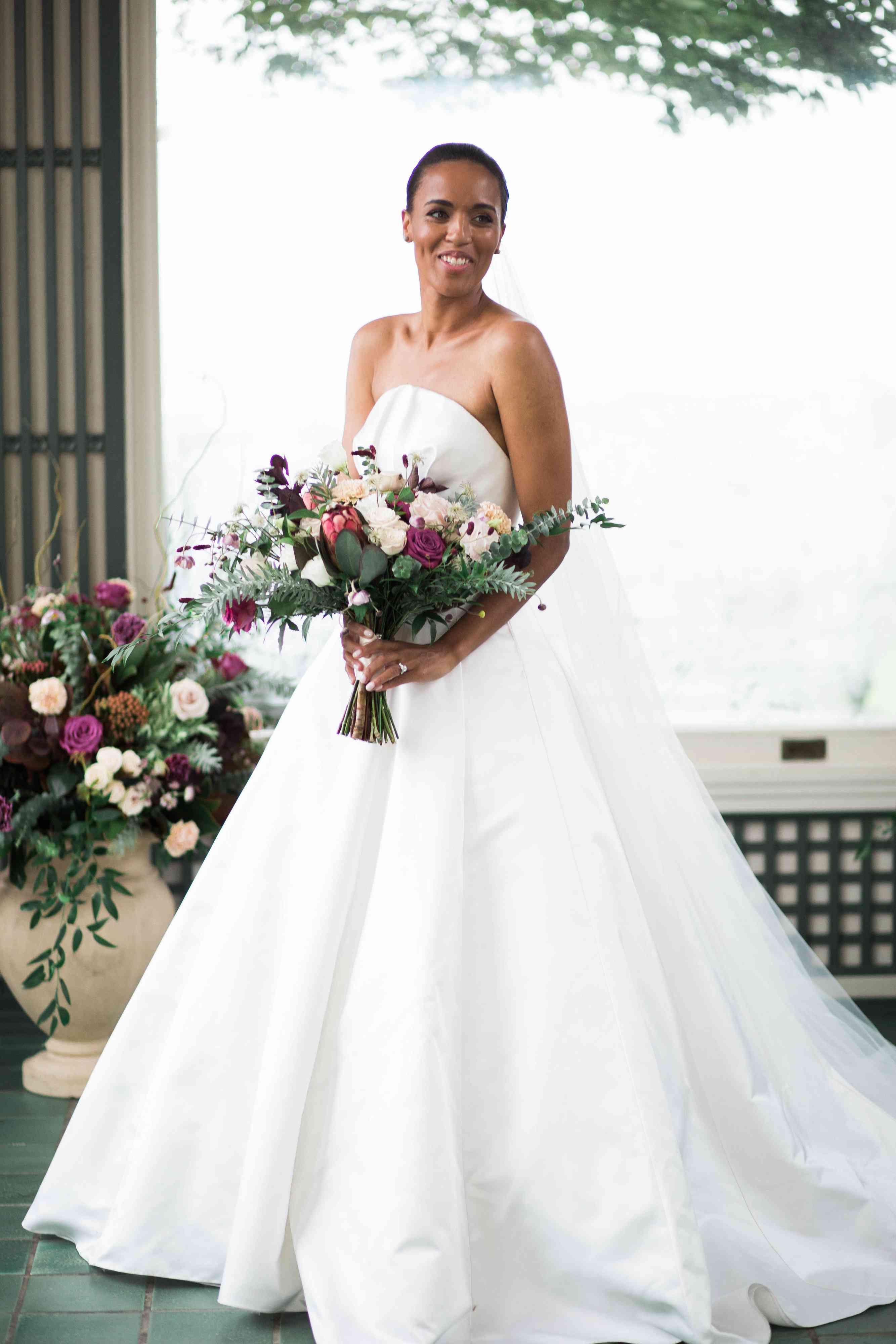 custom Brandon Maxwell wedding gown