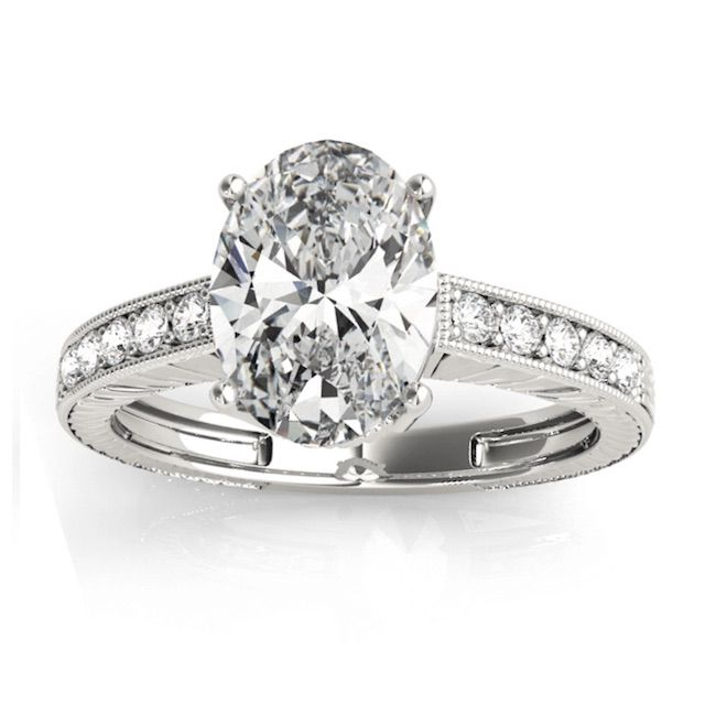 Allurez Diamond Accented Oval Engagement Ring
