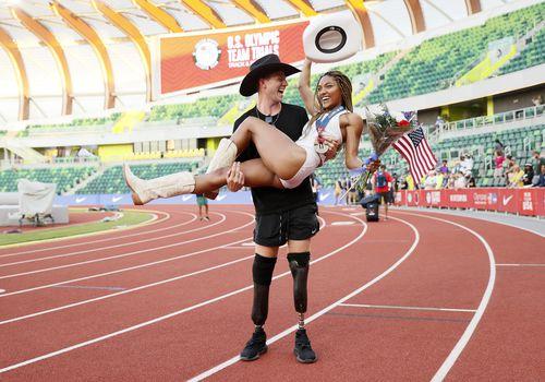 Tara Davis and Hunter Woodhall