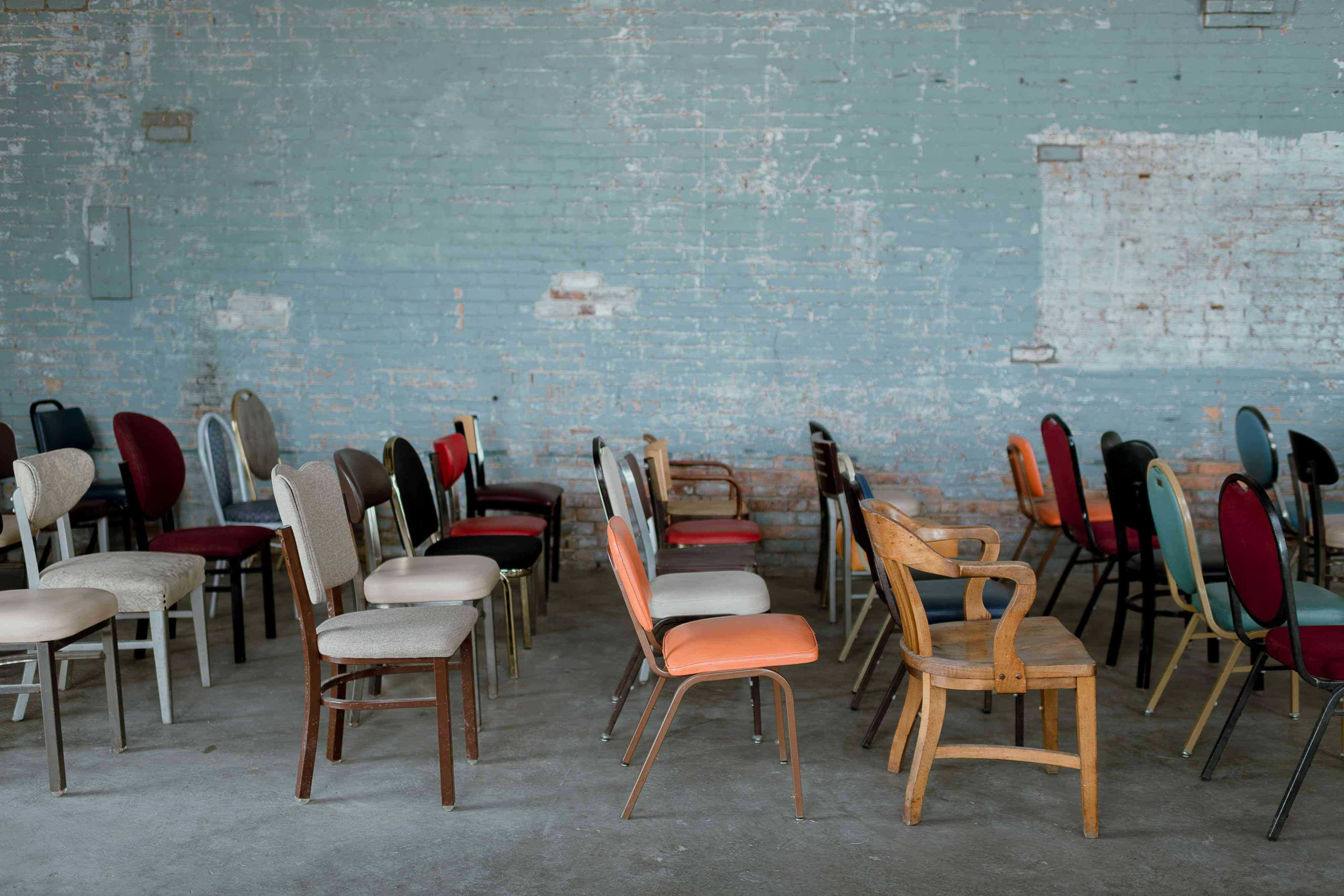 <p>mismatched ceremony chairs</p><br><br>