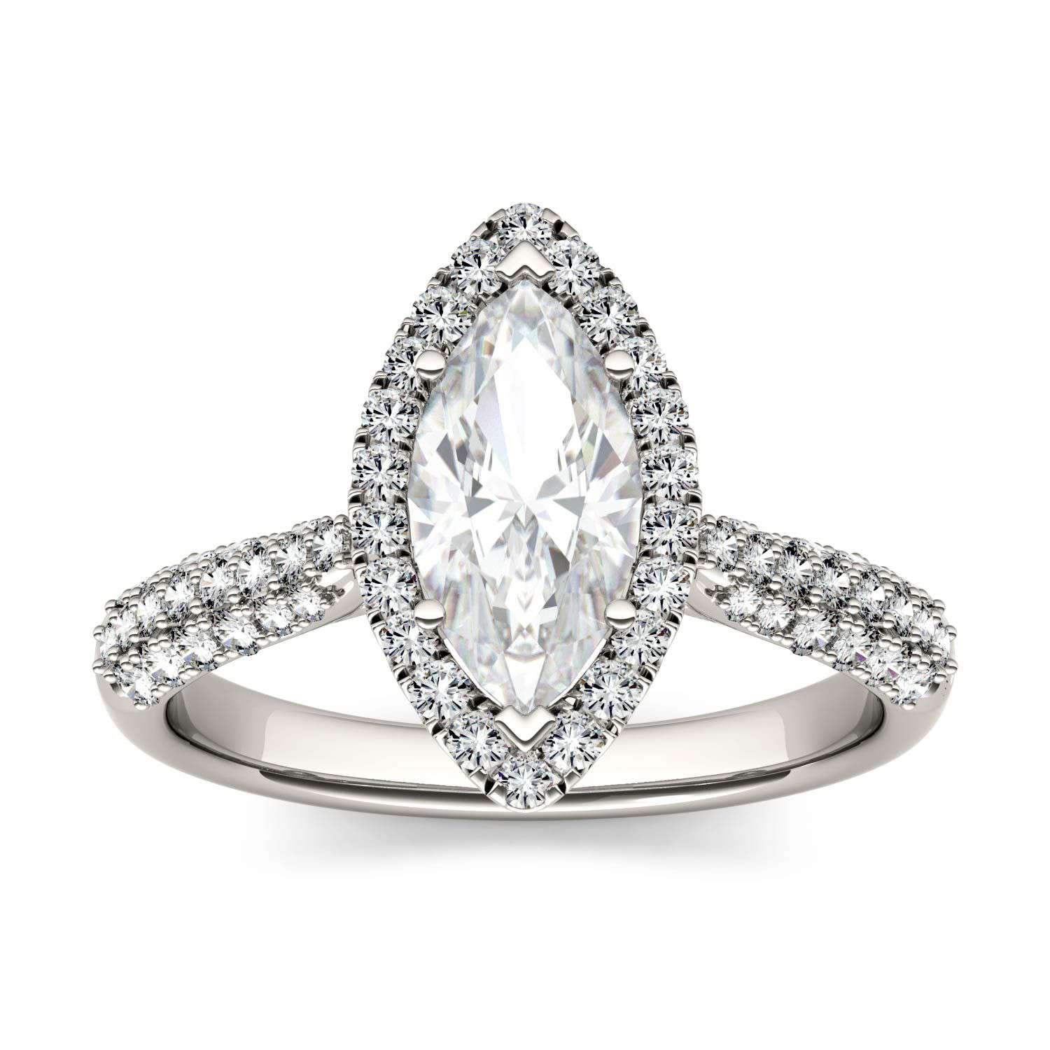 Charles & Colvard Forever One Marquise Moissanite Halo with Side Accents