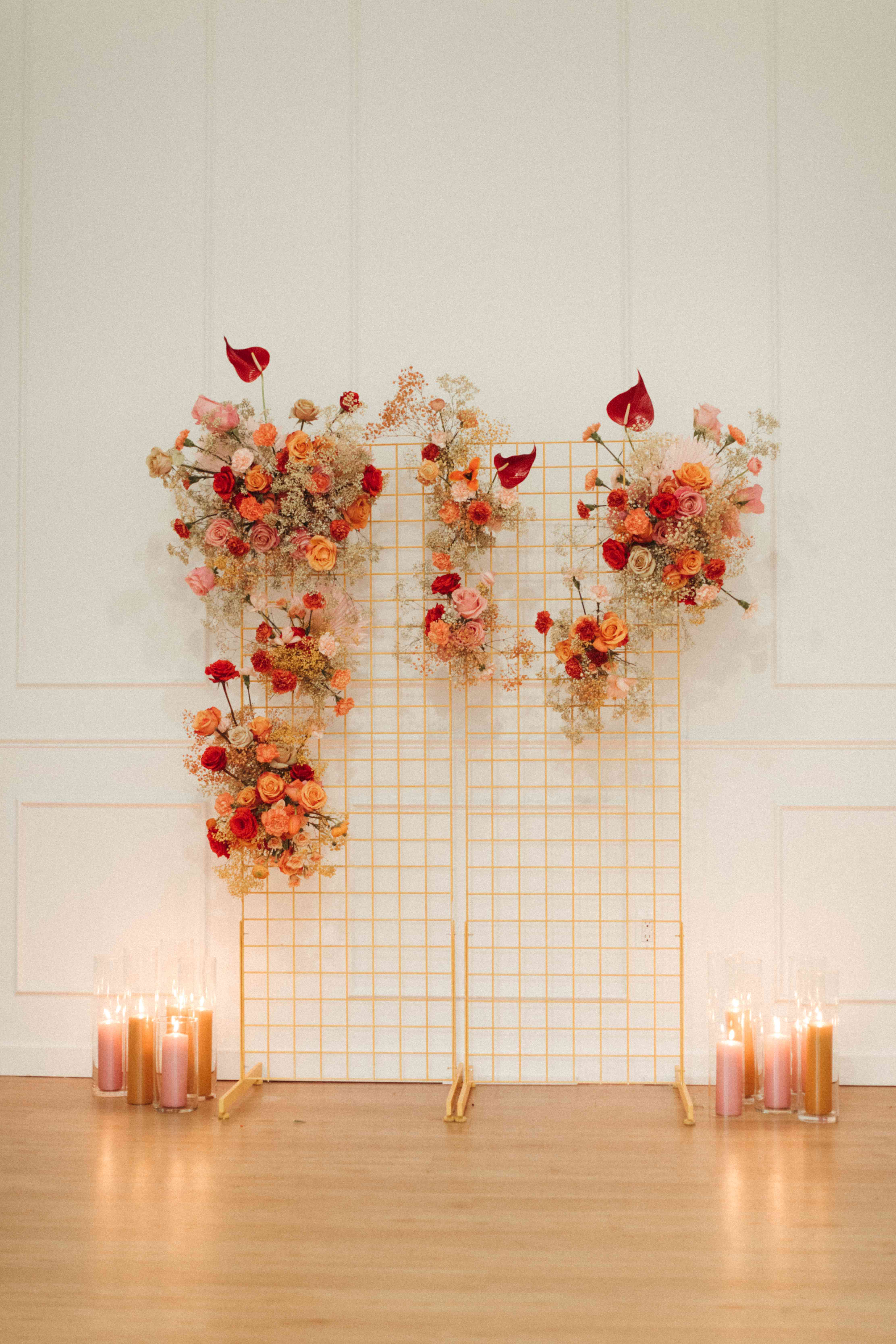 modern floral altar