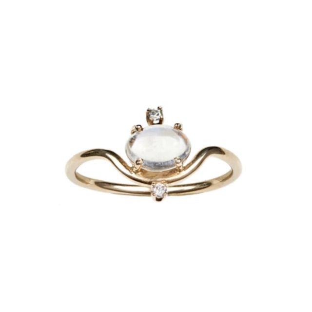 WWAKE Nestled Moonstone and Diamond Ring