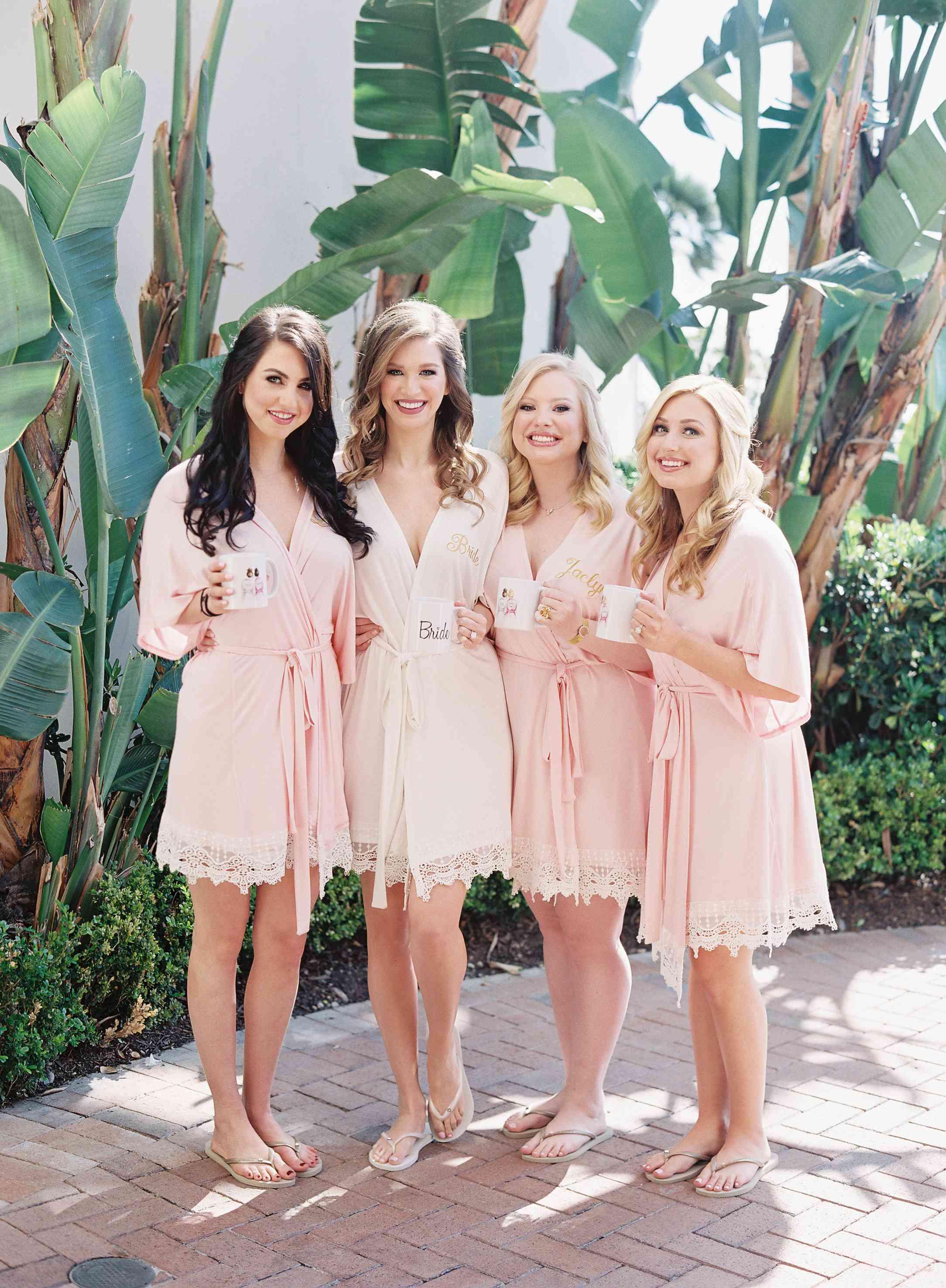 Bridesmaids with matching robes and mugs