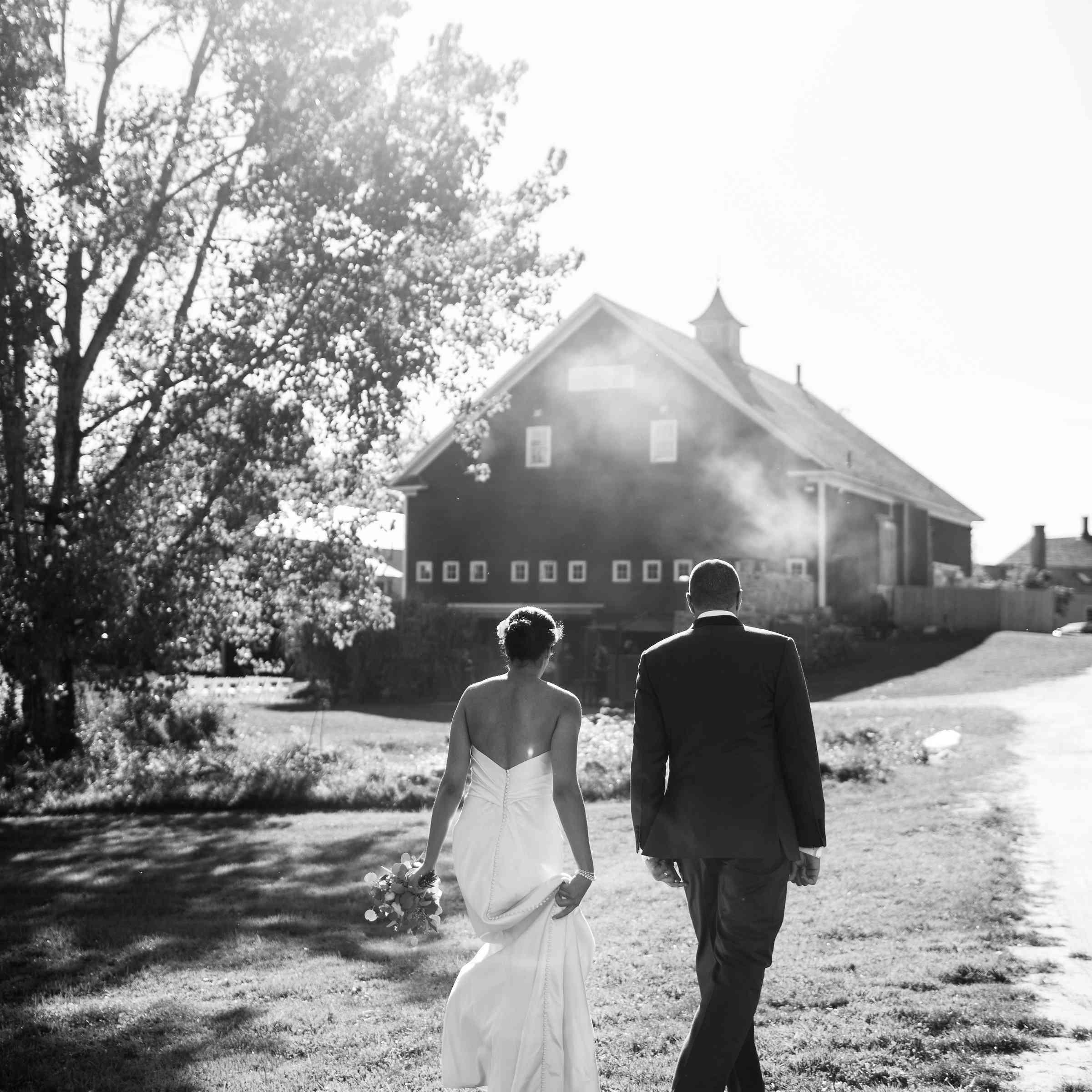 Bride and groom walking home