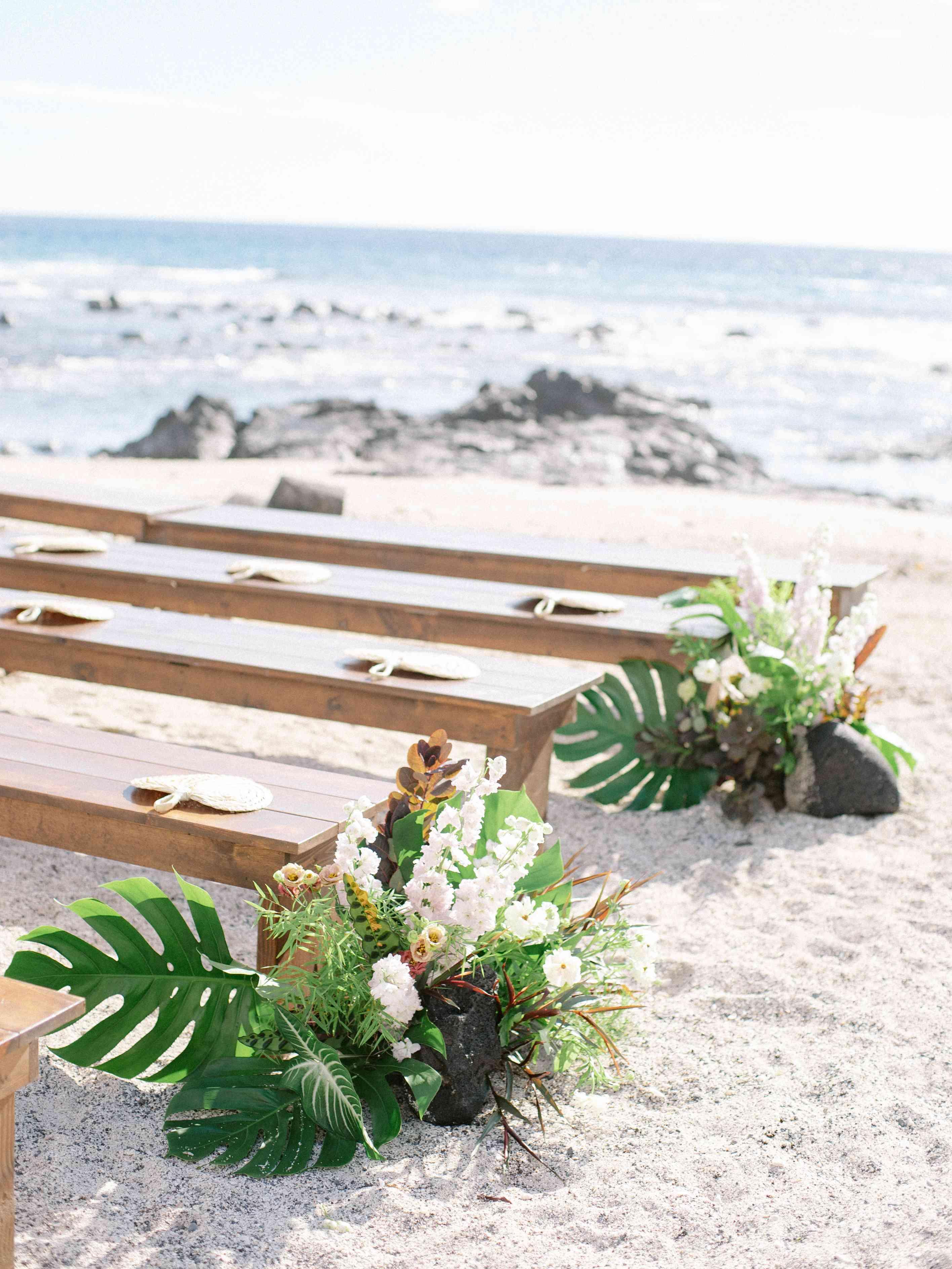 Tropical floral arrangements detail