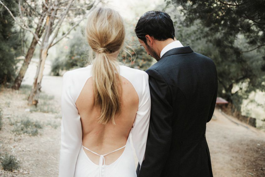 Newlyweds portrait from behind