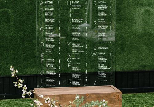 escort card display lucite seating chart