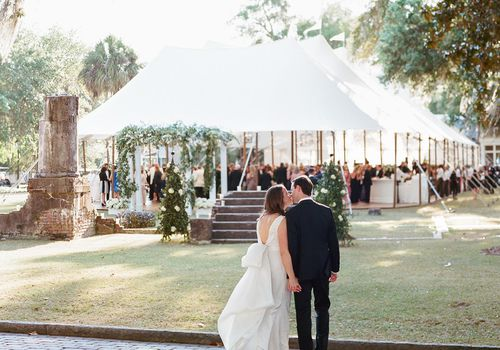 Bride and Groom with Tent