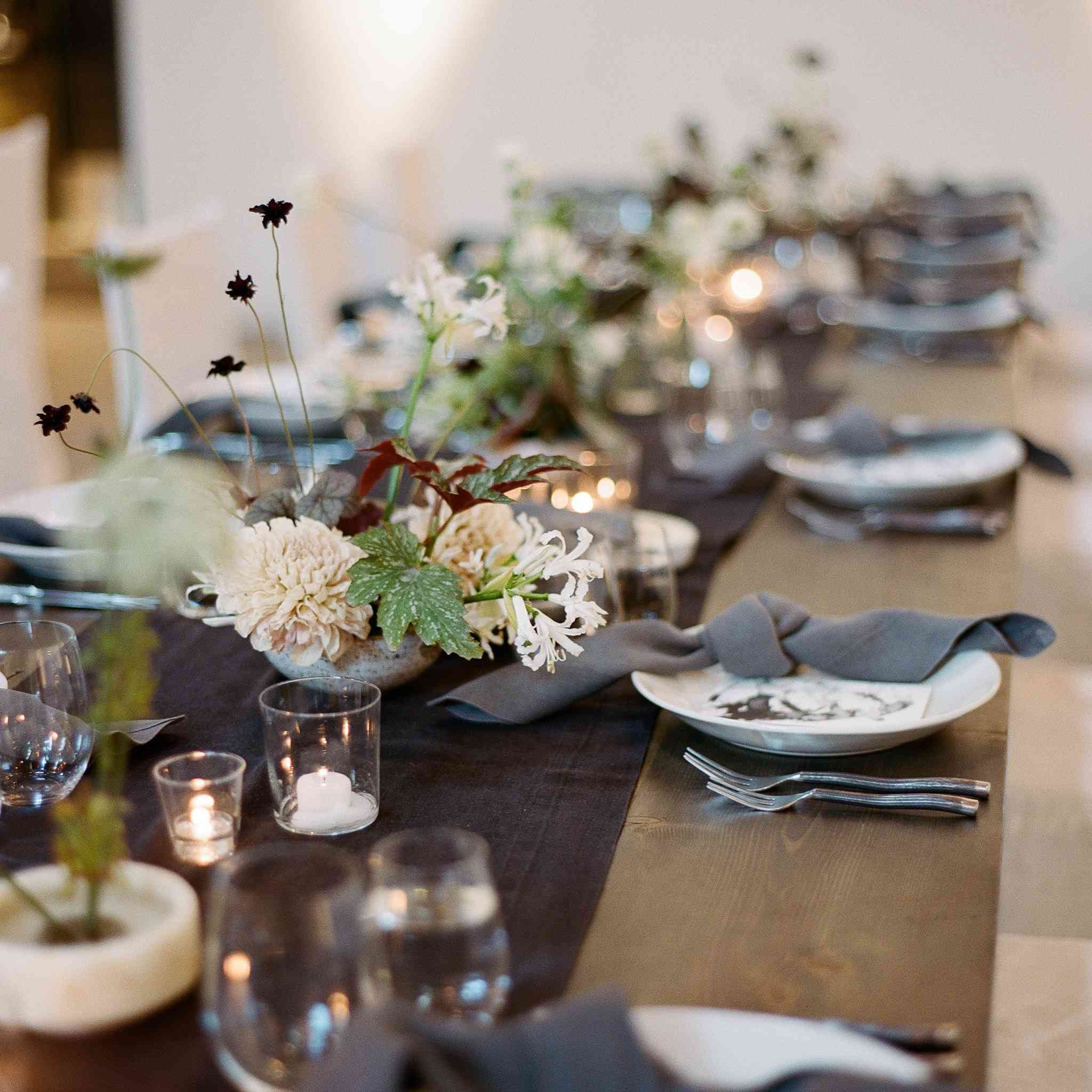 <p>grey and greenery tablescape</p><br><br>