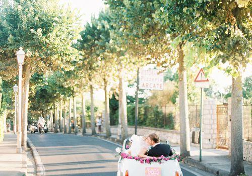 Bride and Groom in Getaway Car