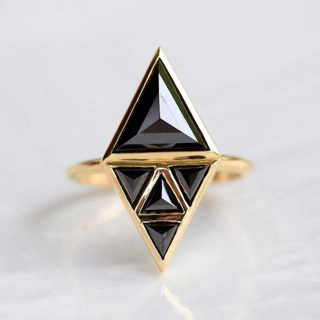 Capucinne Nina Art Deco Black Diamond Ring