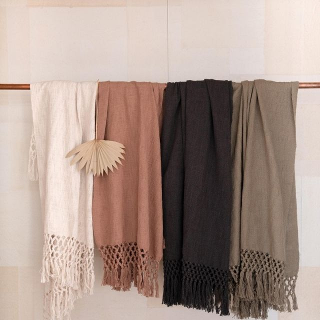 Creative Co-Op Woven Cotton Throw with Crochet & Fringe