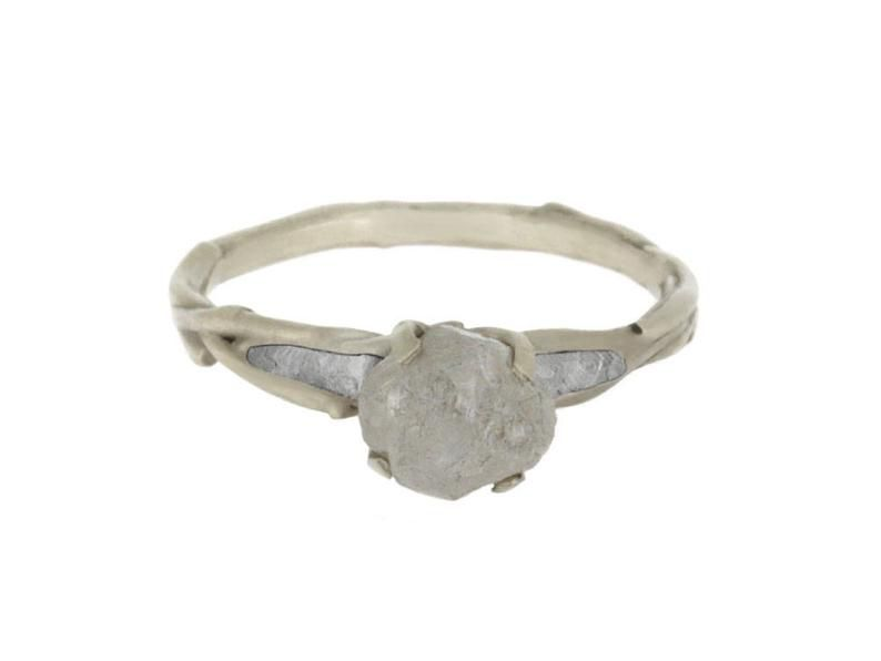 Rough Diamond Engagement Ring in White Gold with Meteorite Inlay