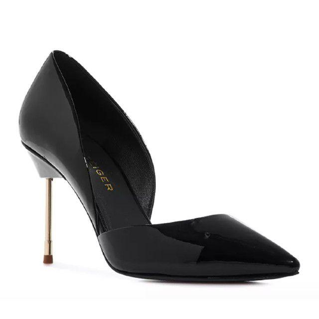 black pumps with cigarette heel