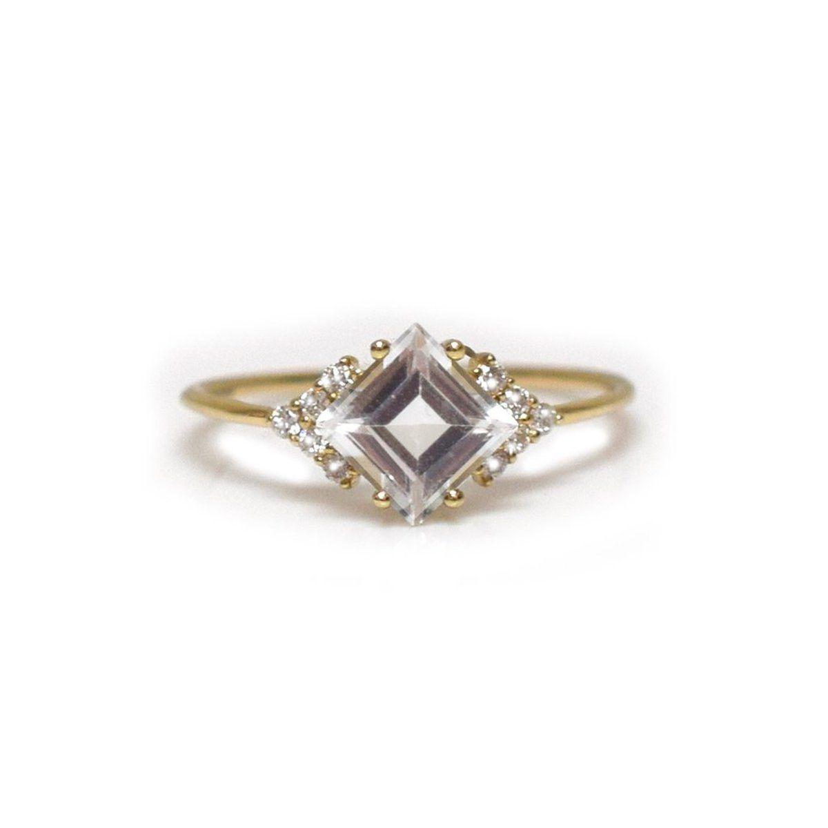 La Kaiser Diamond and Topaz Aphrodite Shield Ring