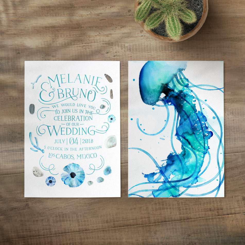 Handpainted octopus wedding invitation