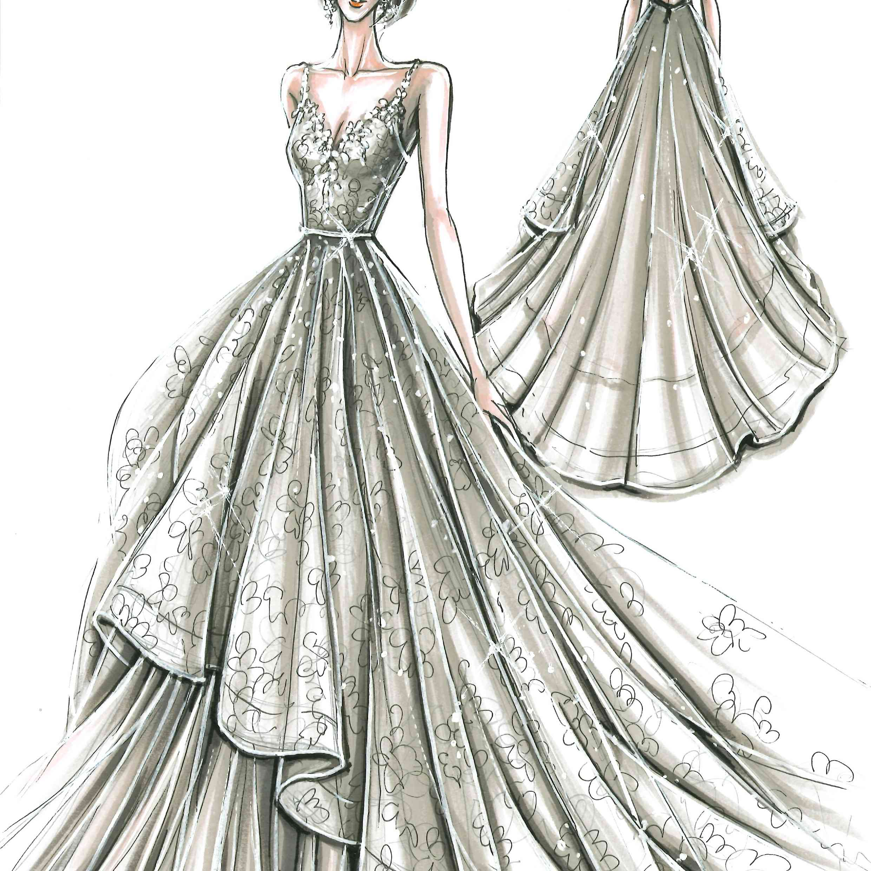 David's Bridal Fall 2020 Bridal Fashion Week Sketch