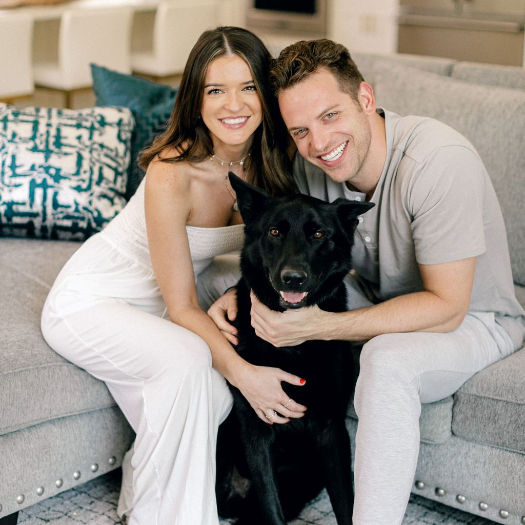 raven and adam with dog