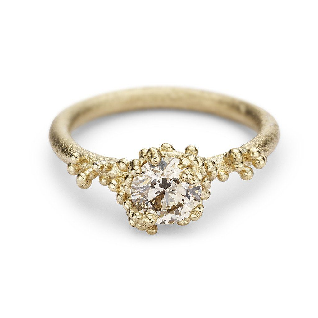 Ruth Tomlinson Solitaire Champagne Diamond Ring with Granules